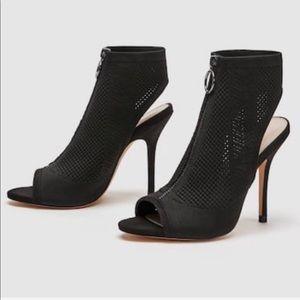 Zara Mesh Black High Heel Sandal Zip Open Toe 7.5